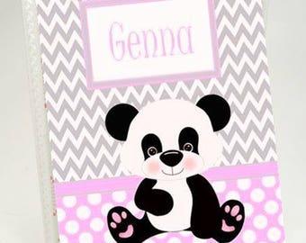 Baby Photo Album Girl Panda Bear Pink Polka Dot Baby Shower Advice Card Wish Book Personalized Grandmas Brag book 4x6 or 5x7 764