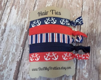 FOE Elastic Hair Ties NAUTICAL Collection Navy Blue, Red, Anchors, Stripes Toddlers Girls Women -Set of 5-