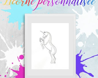Personalized Unicorn. Watercolor on paper. Fantastic creature. Imagination. Magic. Glitter. Color choices. 8 1/2 x 11.