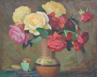 Roses. Floral Still Life. Oil painting on canvas. Soviet Ukrainian Art. Vintage Artwork (2130)