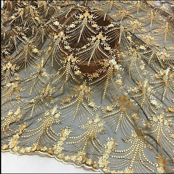 Aliexpress.com : Buy 2 yards Black mesh gold Embroidered Lace Gauze Fabric,  Retro Gold Florals lace fabric, Baroque lace fabric from Reliable lace  fabric ...