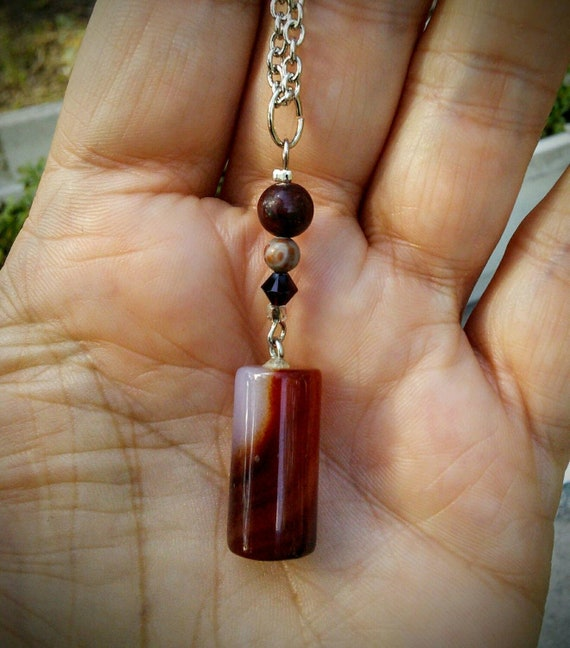 Jasper, Agate and Garnet Gemstone Necklace