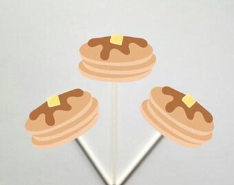 Pancake Cupcake Toppers, Pancakes and Pajamas Decorations