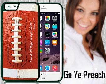 Philippians 4:13 Football Phone Case, Bible Verse Scripture iPhone case 4/4s 5/5s 5c 6 & Samsung Galaxy case s3 s4 s5 Faith iPhone Cover