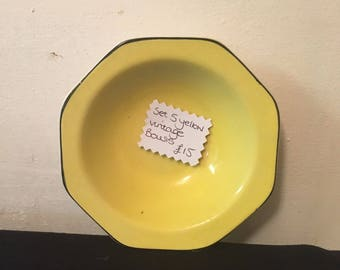 Set 5 yellow vintage desert bowls cute items retro look