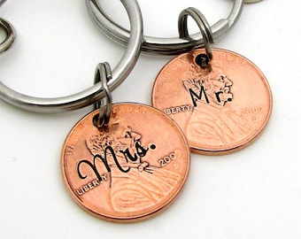 Mr & Mrs Keychains - Hand Stamped Wedding Gift - Personalized Keychain - Personalized Couples Set - Hand Stamped Penny - 7th Anniversary