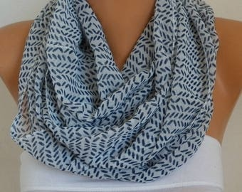 White&Black Chiffon Infinity Scarf,clothing gift,valentine's day gift,Circle, Loop  Scarf Gift for her,women scarves