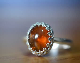 Hessonite Garnet Ring, Natural Autumn Russet Gemstone Jewelry, Sterling Silver Ring, Crown Bezel Set Stone Ring, Handmade Cocktail Ring