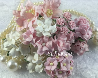 30 Mixed Paper Flowers Scrapbooks Wedding Faux Cards Dolls Crafts Roses Lily Variations Listing of Set9