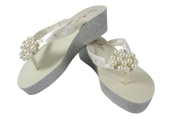 Flip Bling Crystal inch 2 Embellishment Ivory Wedge Rhinestone Flip White Wedding Swarovski Glitter Flops Accents Pearl or Silver Flops gPx5F1wnq