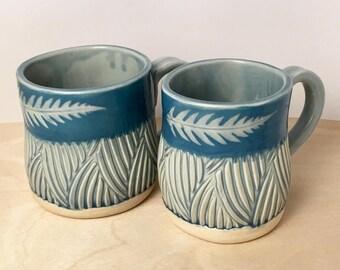 Blue Fern Mugs, set of small mugs, handmade mugs