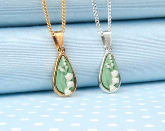 Lily of the Valley tear Drop Pendant Necklace