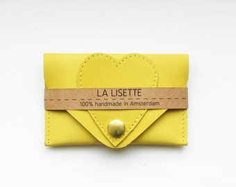 Yellow leather card case / Wallet / leather case / heart / hearts / business card case / card holder / leather purse / kitty