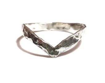 Sterling Silver Hammered Chevron Ring (also known as a wishbone ring)