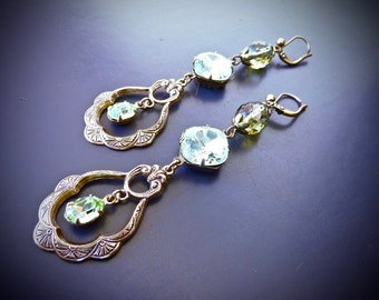 "Earrings ""Renaissance: between Ivy..."", Translucent Green Swarovski crystals, Czech beads"