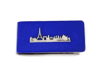 Paris City Skyline Money Clip Hand Painted Glossy Enamel Finish on Silver Plated Clip with Personalized and Color Options