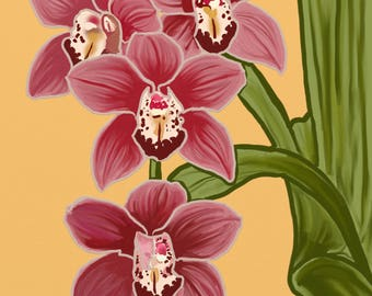 Canvas print of digital painting - Red Cymbidium orchid painting, burgundy cymbidium orchids art, cymbidium painting