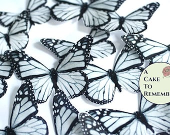 Edible butterflies, 12 black and white edible wafer paper monarch butterflies for cake decorating, cupcake decorating. butterflies for cakes