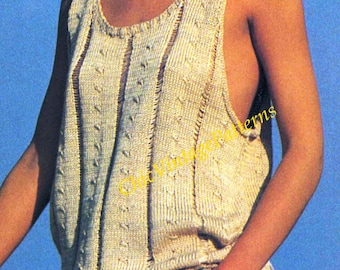 Knitted Singlet Top ... Vintage Ladies PDF Knitting  Pattern ... Beach, Holiday, Resort ... Casual and Cool ... Summer Top