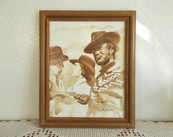 Vintage Framed Sepia Watercolor Painting Signed M. Prior Clint Eastwood Humphrey Bogart Ingrid Bergman Hollywood Country Western Art Decor