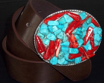 Turquoise Blue and Coral Stone Belt Buckle