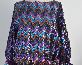BATWING DISCO GLAM Sequined and Beaded Top Blouse Multicolor Street Style