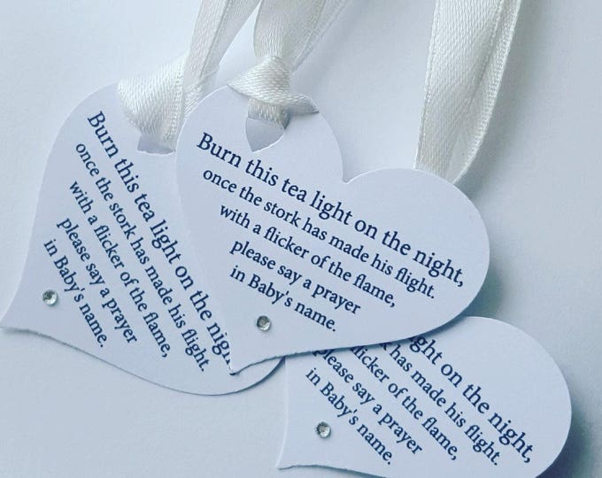 20 Baby shower tealight candle poem favour tags with satin ribbon