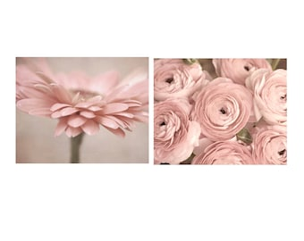 Floral photo prints set of 2 pastel blush pale pink flowers, gifts for women, teen girl wall art, powder room bathroom bedroom decor picture