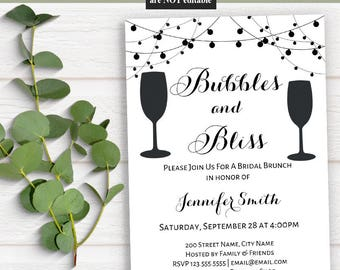 Bubbles & Bliss invitation, Printable templates, Bridal shower invite, Instant download self editable pdf A513