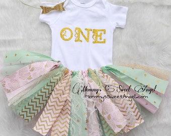 3 piece set tutu outfit. Cake smash tutu. 1st Birthday tutu outfit. Fabric tutu outfit. Gold, mint and pink tutu.