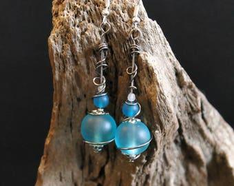 icy blue fancy earrings