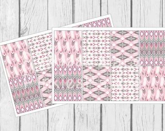 Pink Tribal Planner Stickers Full Boxes set of 8 PS418e