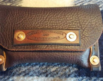 Single Altoids tin belt pouch made from Bison leather