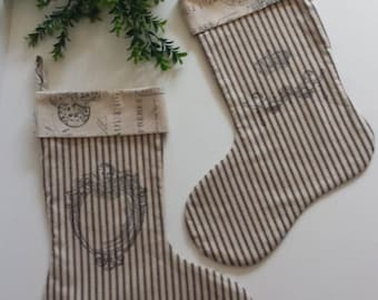 "Set/2 French Farmhouse Christmas Stockings Black Cream Ticking French Toile 19"" Country French Shabby Chic Cottage"