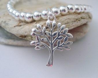 Tree of Life Charm Bracelet Sterling Silver Beaded Bracelet for Women Stretch Stacking Bracelet Gift for girls girlfriend gift handmade