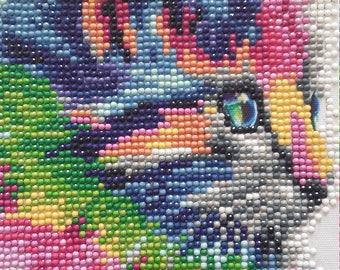 Multicolored mosaic cat painting