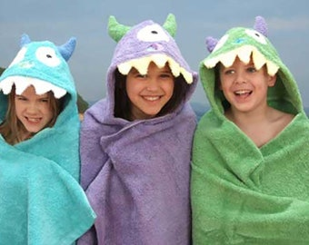 Personalized Hooded Bath Beach Towel Monster Hooded Towel Boys Gift Girls Gift
