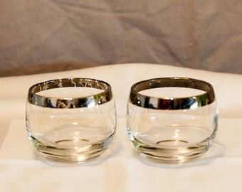 Mid Century Modern Silver Rimmed Roly Poly Glasses, Set of 2, Mad Men, Dorothy Thorpe Like,