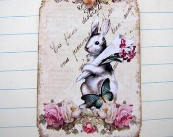 Shabby French Rabbit Tags