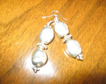 Silver-plated drop earrings on sterling wires