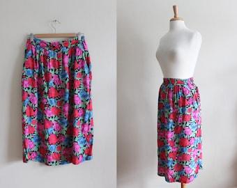 Vintage 1980s Bright Floral Diane Von Furstenberg Skirt