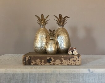 Set of 3 Brass Pineapple / Brass Pineapple Ice Bucket / Brass Pineapple Container / Vintage Brass Pineapple / Hospitality Pineapple