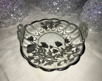 """Silver City """"Flanders"""" with Silver Overlay Bon-Bon Curved Dish, c. 1920"""