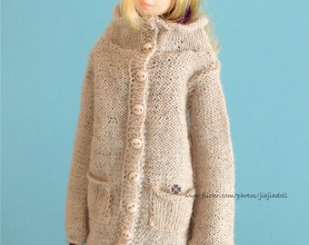 jiajiadoll-hand knitting-beige long cardigan fits Momoko Or Blythe Or Misaki