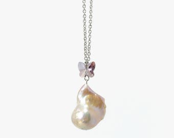 Lovely Baroque Necklace with Butterfly Swarovski Crystal on 18in Stainless Steel Chain, Freshwater Pearl Jewelry