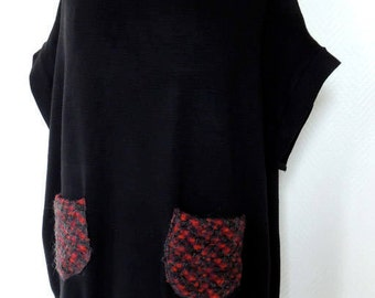 Loose-fitting pullover with short sleeves and pockets fancy dress / by classy *.