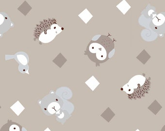 Little Forest - 12945 - Taupe Animals with Diamonds - from 3 Wishes Fabric