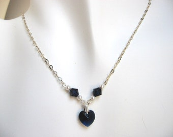 Blue Heart Necklace, Navy Blue Necklace, Sterling Silver Heart Chain Single Strand Necklace, Dark Indigo Swarovski Heart Pendant