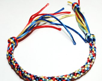 Kumihimo Bracelet Fiber Jewelry Satin Cord Primary Colors Red, Yellow, Blue