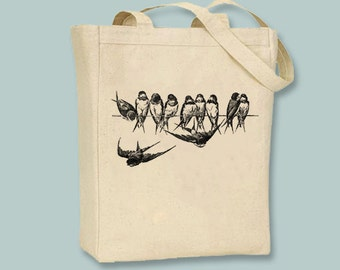 Vintage Birds on a Wire Canvas Tote with shoulder strap - Selection of Sizes, ANY IMAGE COLOR available